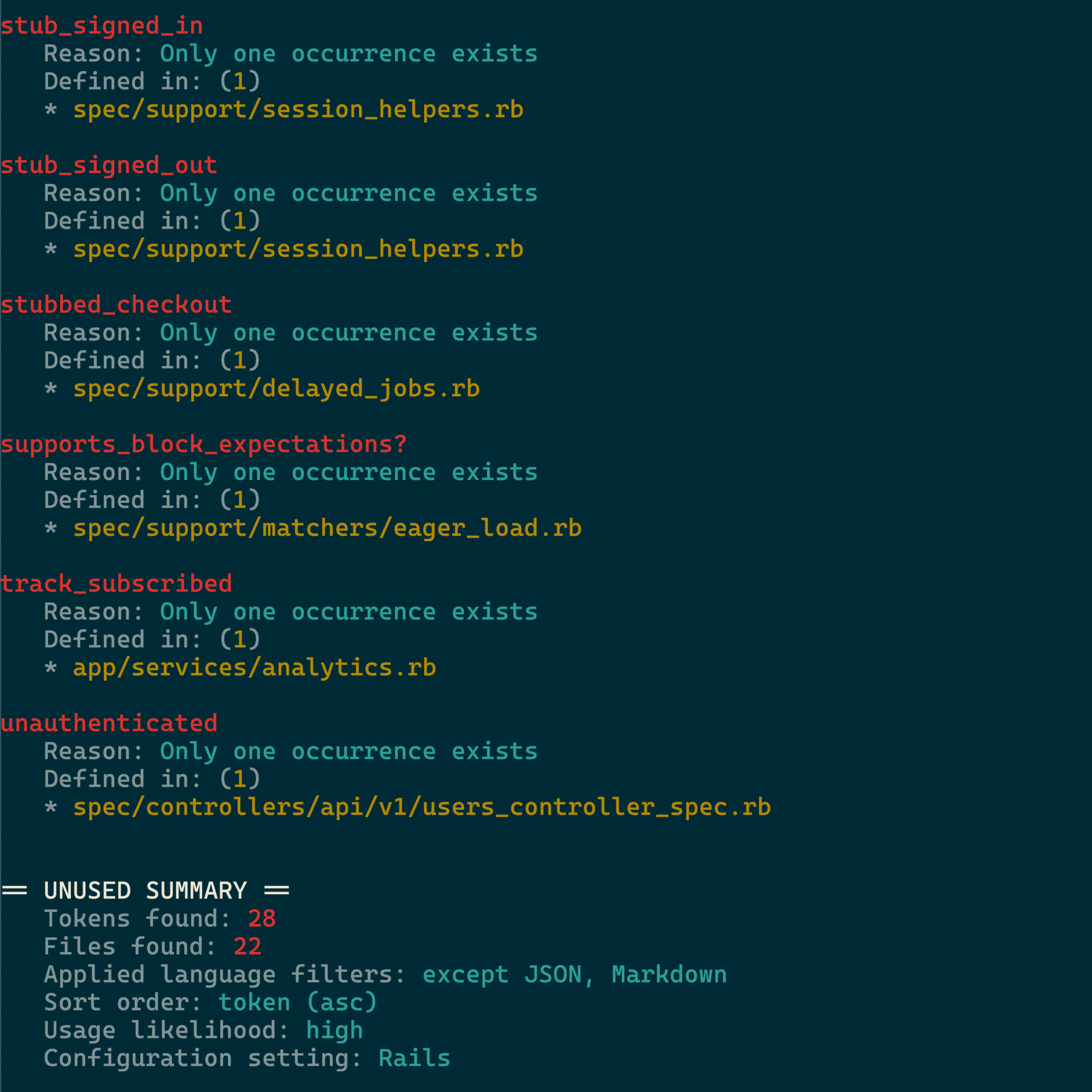 Screenshot of unused output